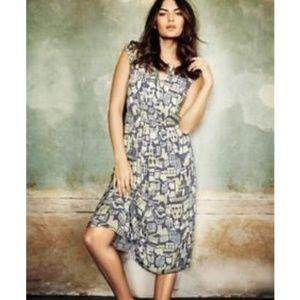 Boden City Print Pintuck Midi Dress - Size 12R